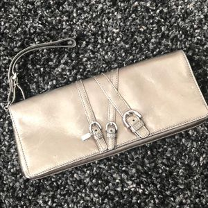Auth COACH rare Pewter metallic leather clutch